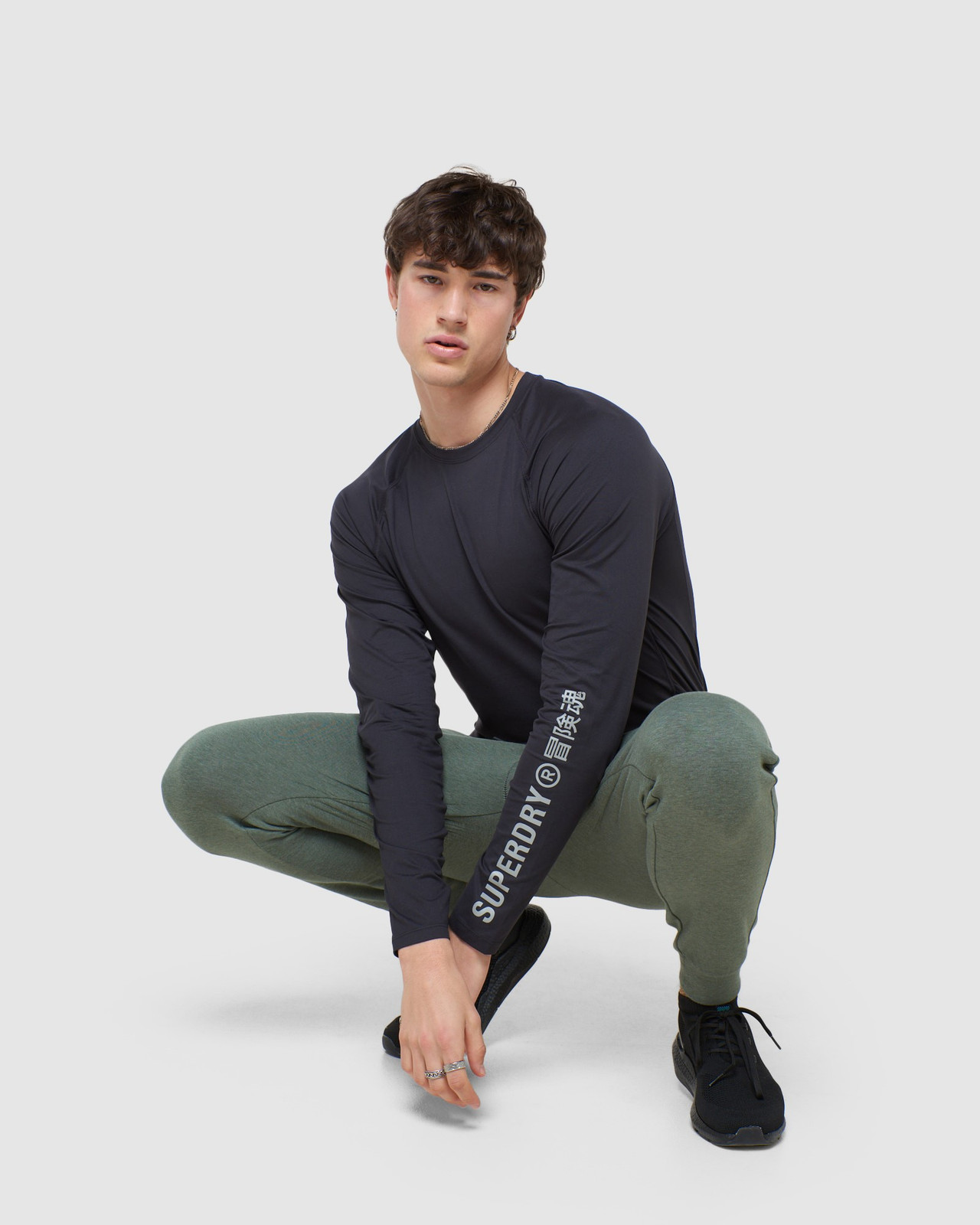 Superdry Mens CREW NECK CARBON BASE LAYER Black Long Sleeve Top 0