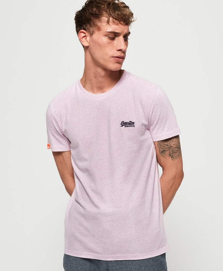 Superdry O L Vintage Embroidery S/S Tee Pink Pale Marle
