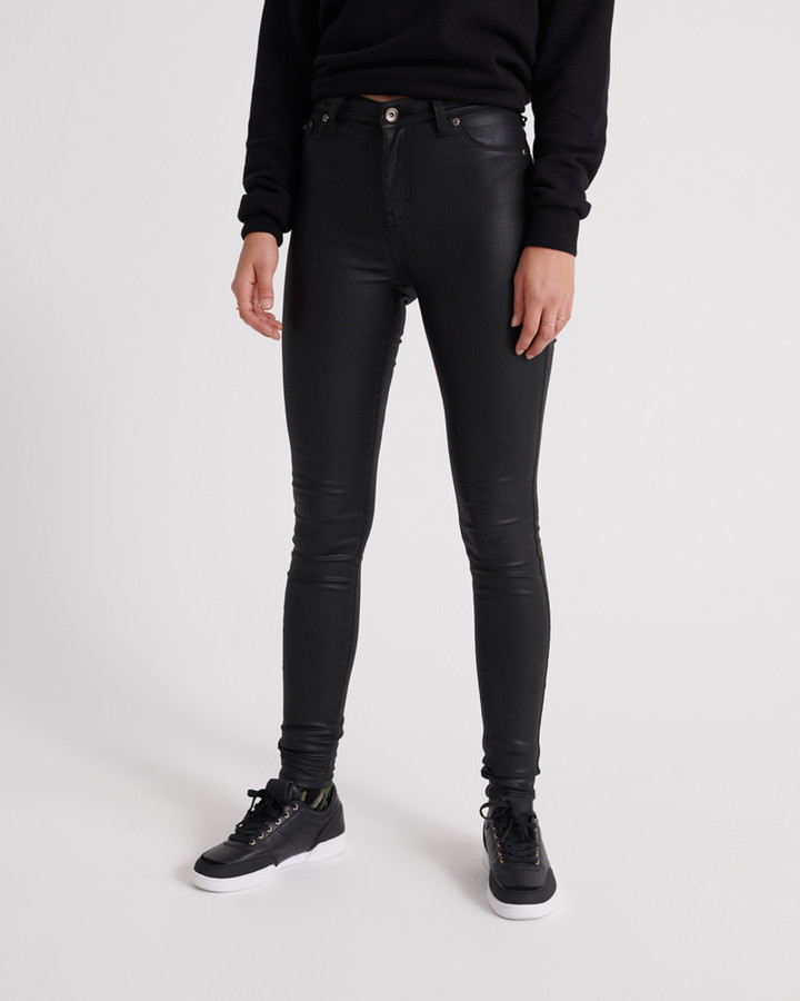Superdry Sophia Coated Skinny Waxed Black