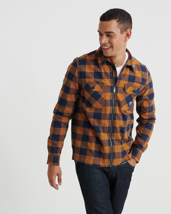 Superdry Workwear L/S Zip Through Yellow Check