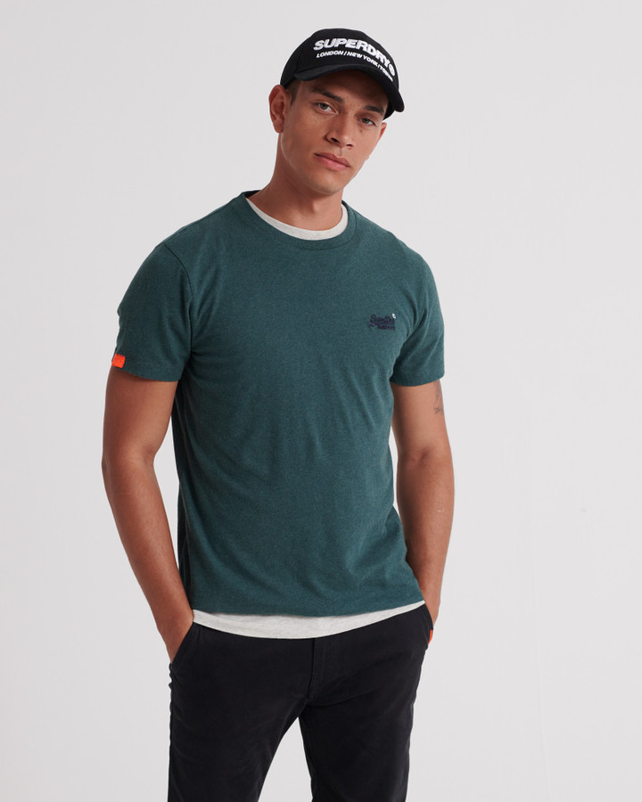 Superdry Ol Vintage Embroidery Tee Buck Green Marle