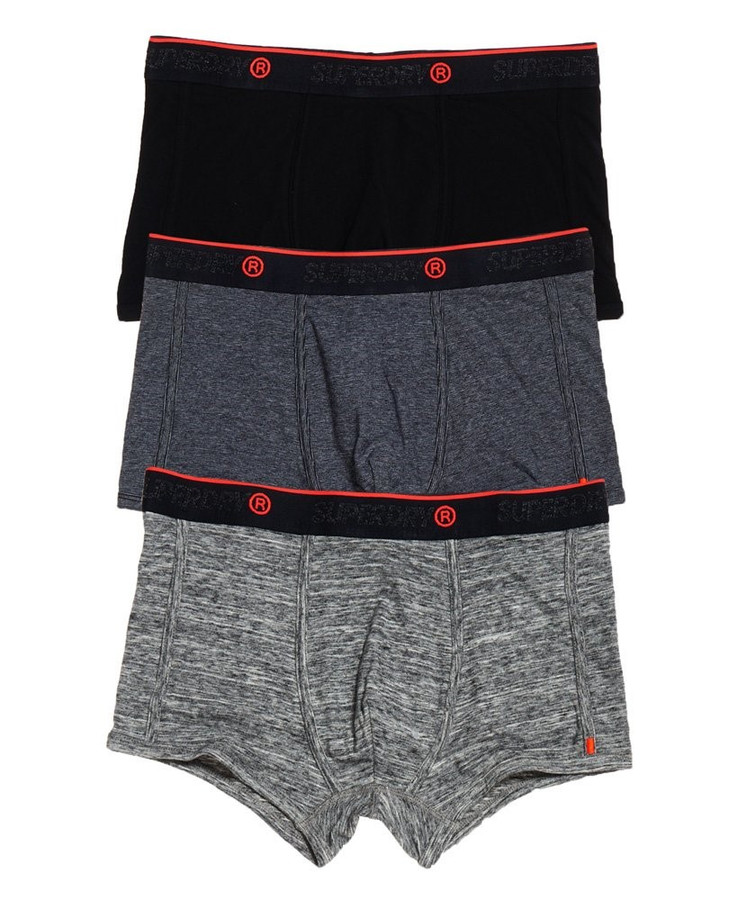 Superdry O.L Sport Triple Trunk Pack Blk/Blk Feeder/Flint Grey Grit