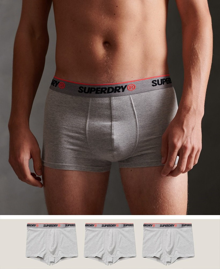 Superdry Classic Trunk Triple Pack Grey Marle Multi
