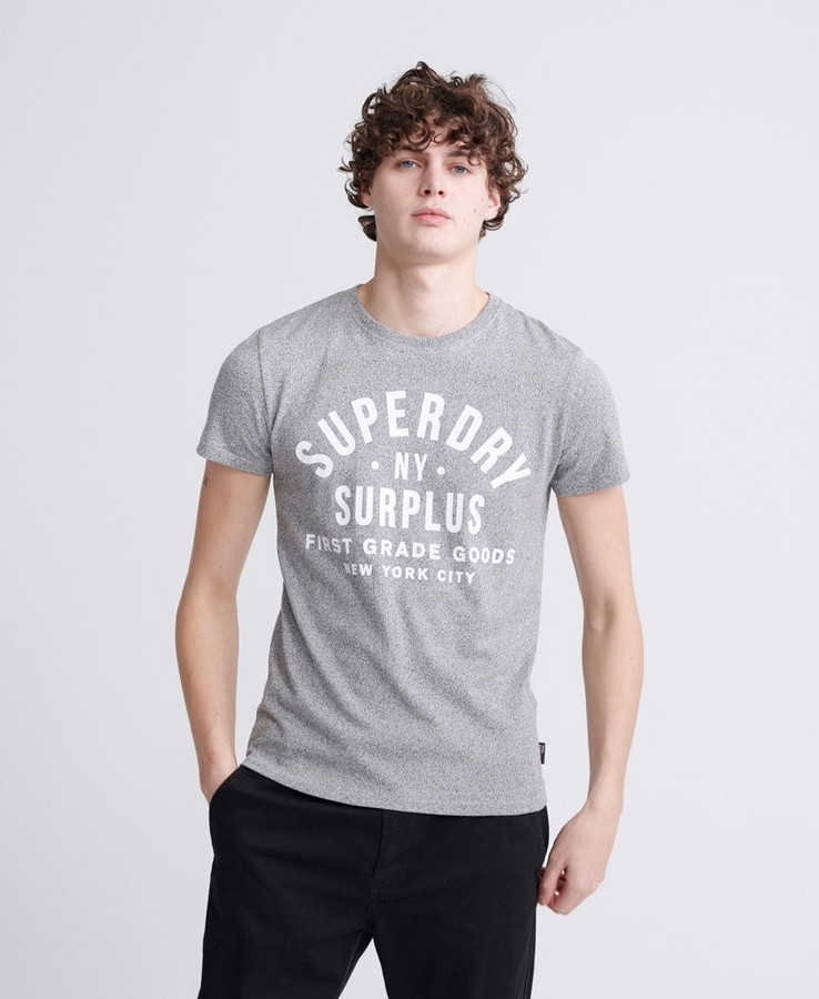 Superdry Surplus Goods Clsc Graphic Tee Speckle Grit