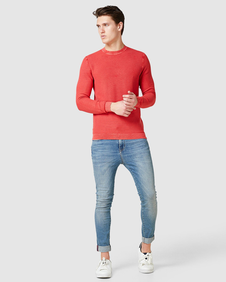 Superdry Garment Dyed Textured Crew Washed Grapefruit