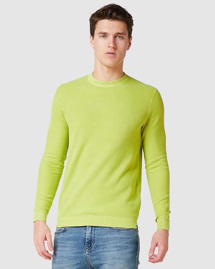 Superdry Garment Dyed Textured Crew Washed Sulphur Spring