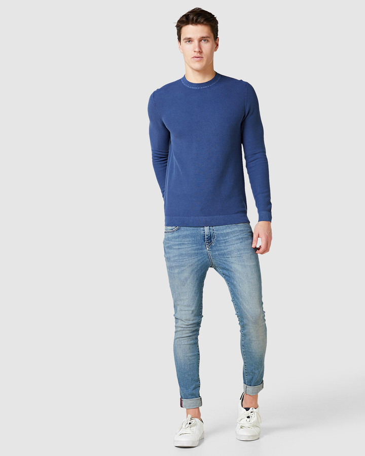Superdry Garment Dyed Textured Crew Washed Rich Navy