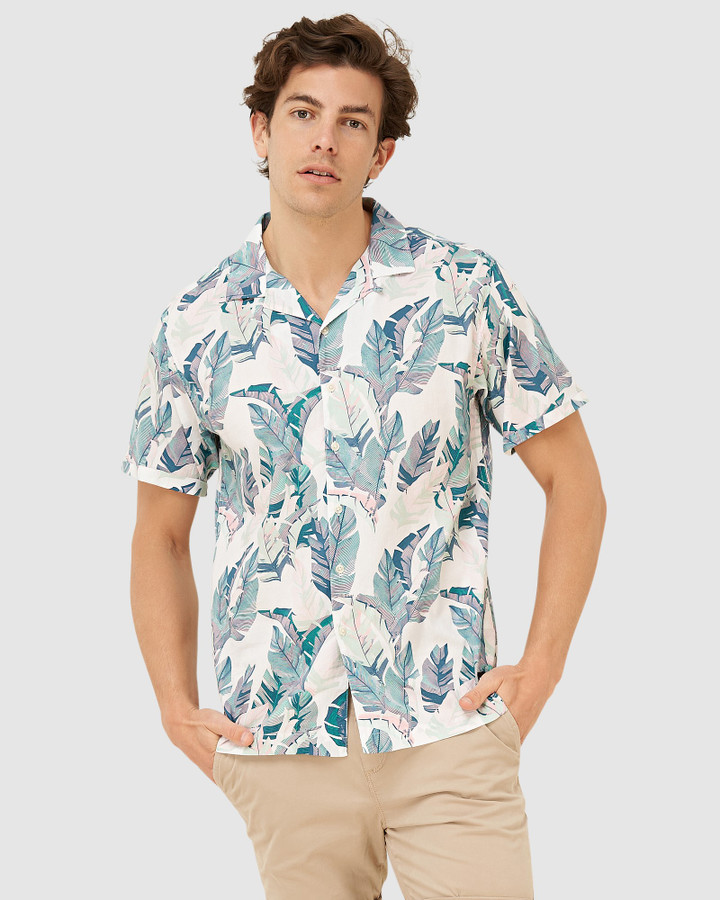 Superdry Hawaiian Box S/S Shirt Feather Leaf White