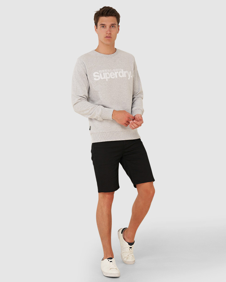 Superdry Core Logo Faux Suede Crew Collective Light Marle