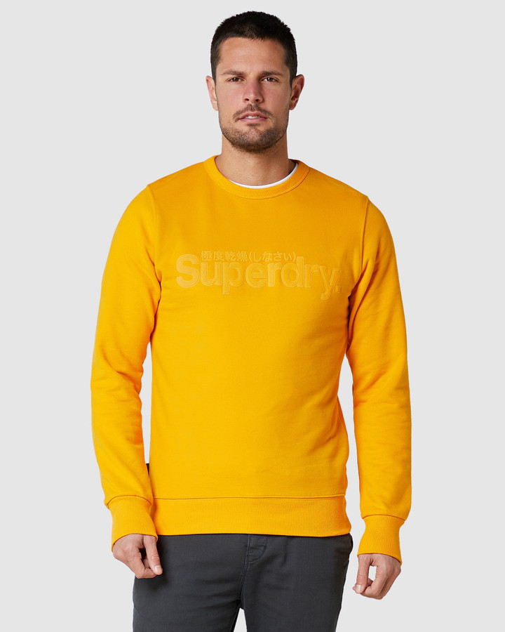 Superdry Core Logo Faux Suede Crew Upstate Gold