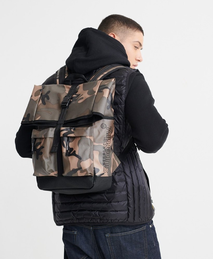 Superdry Roll Top Tarp Backpack Green Camo