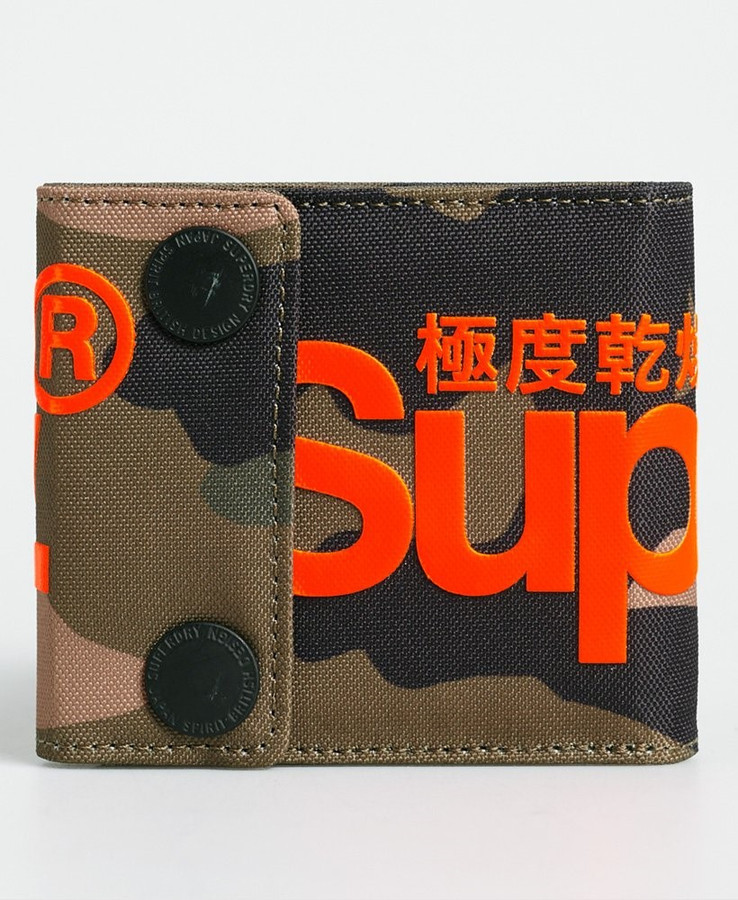Superdry 2 Popper Wallet Green Camo