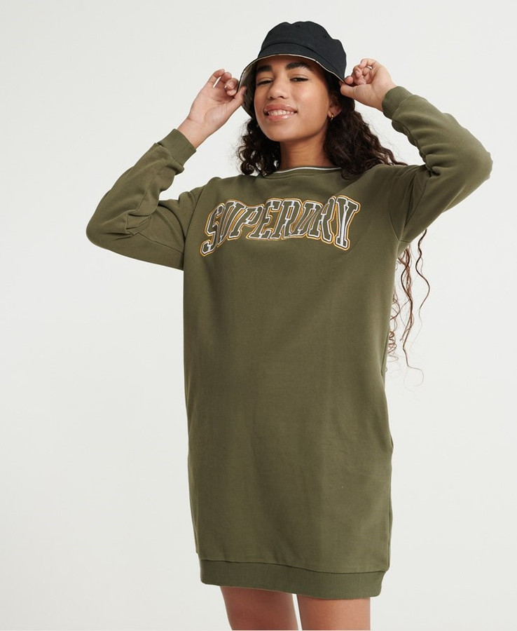 Superdry Coded Sweat Dress Olive Night