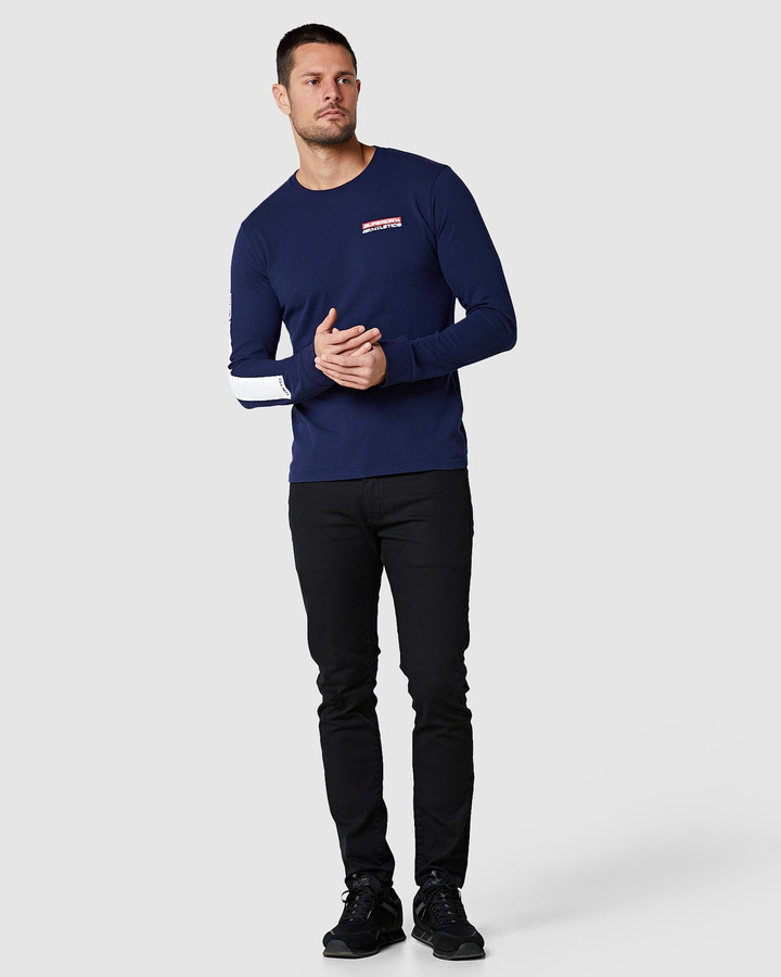 Superdry Trophy Graphic Ls Tee Rich Navy