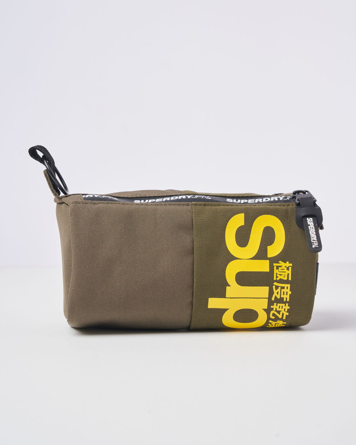 Superdry Double Zip Pencil Case Olive Night