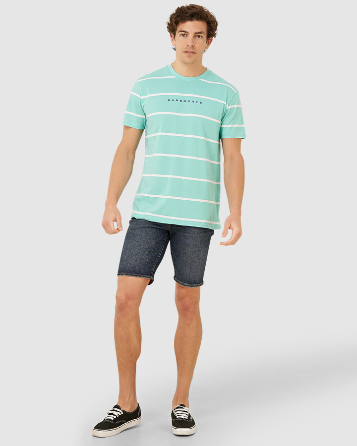 Superdry Box Fit Stripe Print Tee Pool Blue