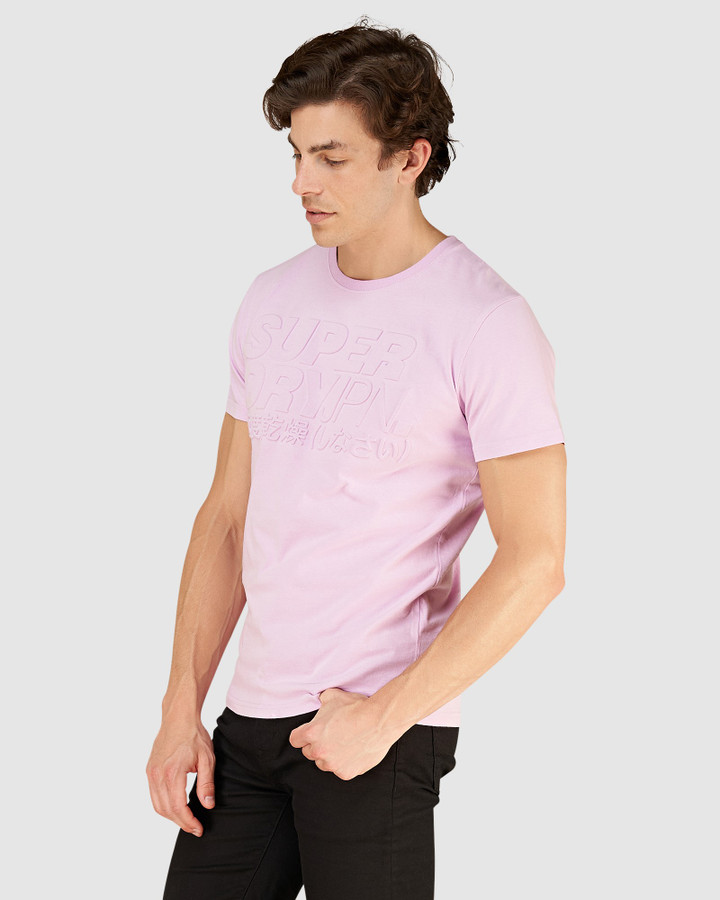 Superdry Emboss Pastel Line Tee Orchid Bouquet