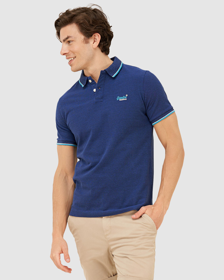 Superdry Poolside Pique S/S Polo Eclipse Navy