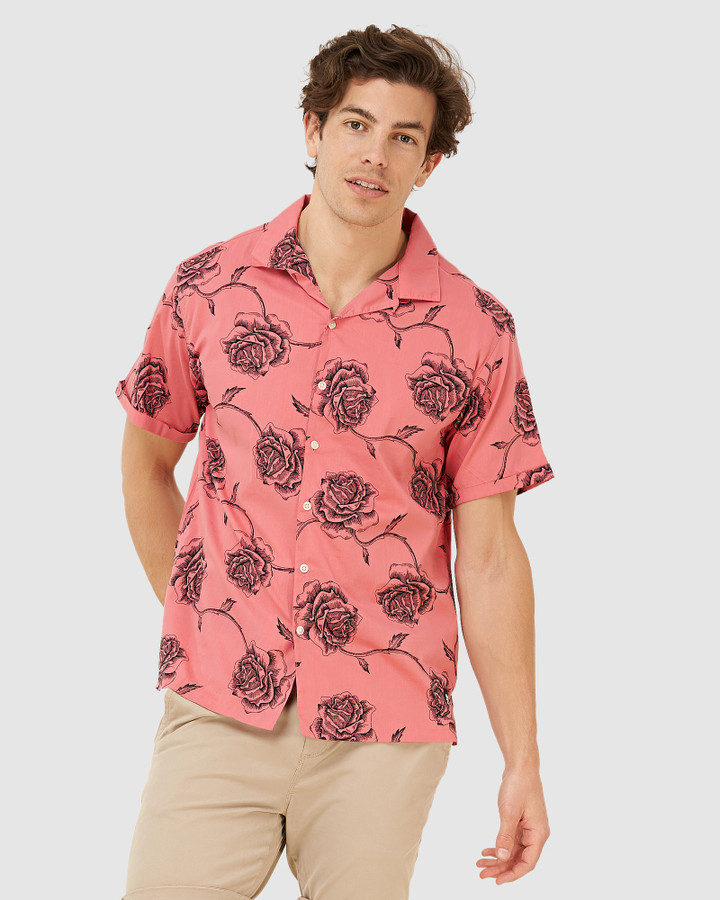 Superdry Ss Hawaiian Box Fit Shirt English Rose