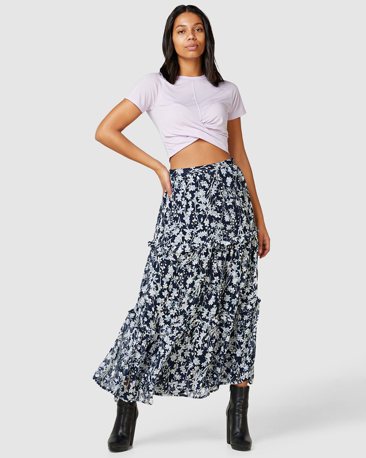 Superdry Margaux Maxi Skirt Navy Floral