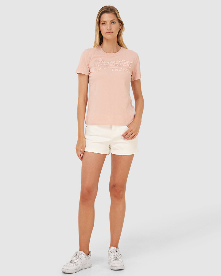 Superdry Vl Emb Outline Entry Tee Peach Whip