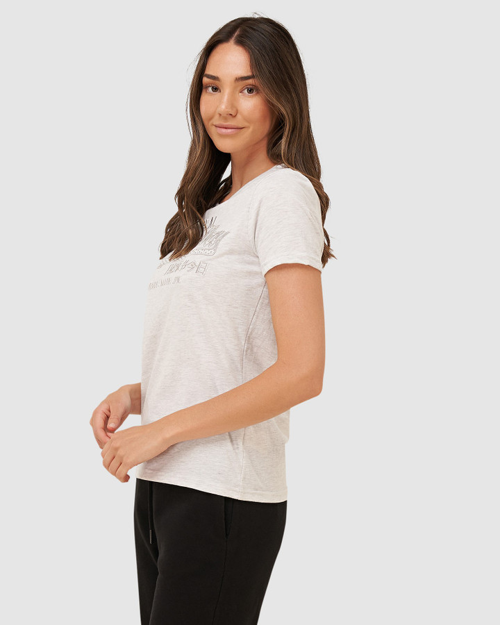 Superdry Vl Embroidery Infill Entry Tee Ice Marle
