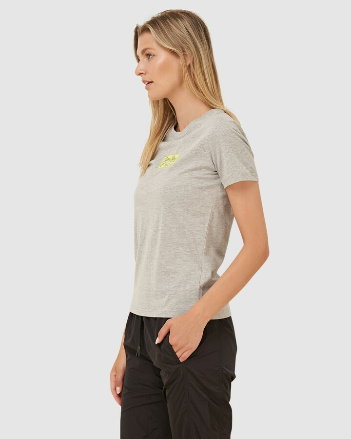 Superdry Vl Micro Emb Box Entry Tee Grey Marle