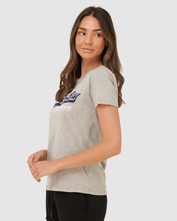 Superdry Vl Duo Satin Entry Tee Grey Marle