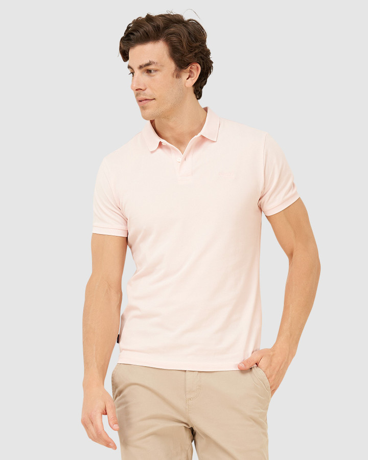 Superdry Classic Micro Lite Pique Polo Tropez Pink