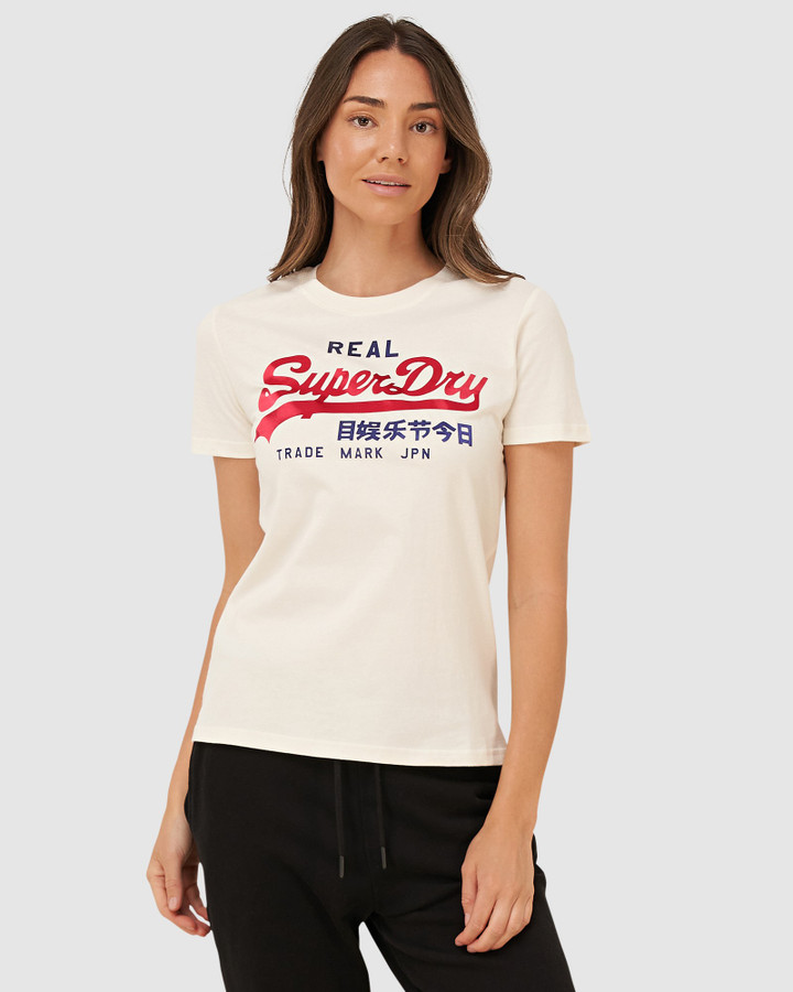 Superdry Vl Duo Satin Entry Tee Couture White
