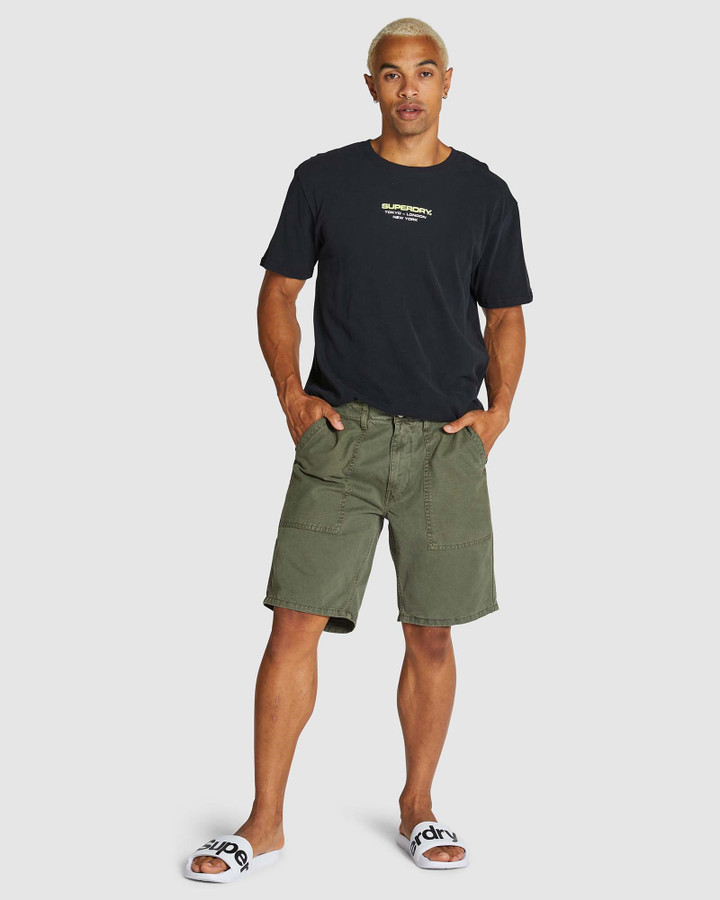 Superdry Canvas Fatigue Short Base Olive