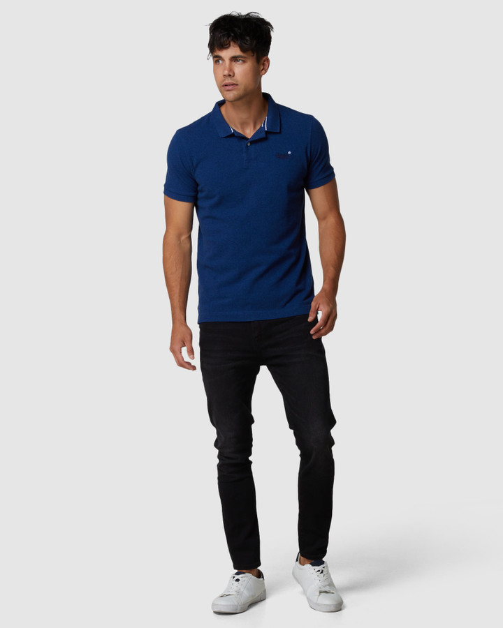 Superdry Classic Pique Polo Voltage Dark Blue Grit