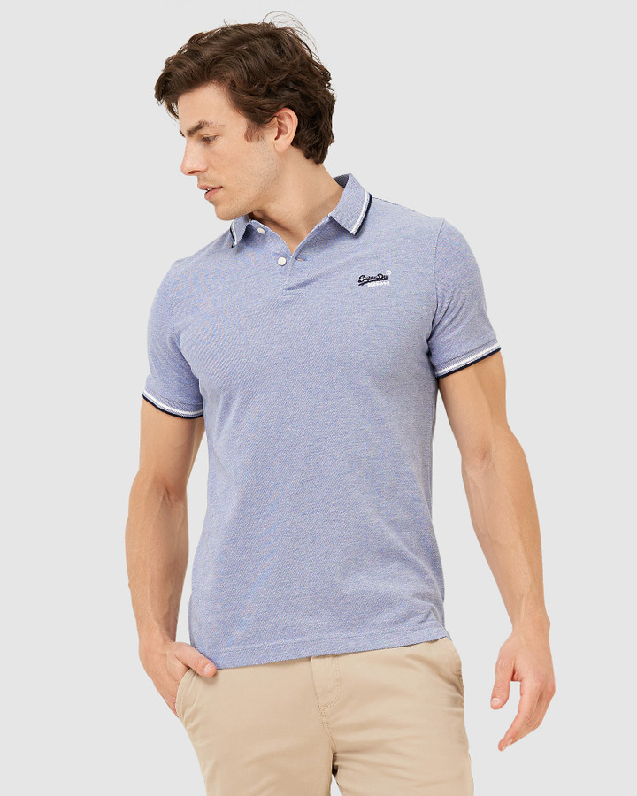 Superdry Classic Poolside Pique Polo Mazarine Blue