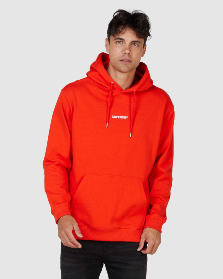 Superdry Micro Logo Box Fit Hood Deep Red