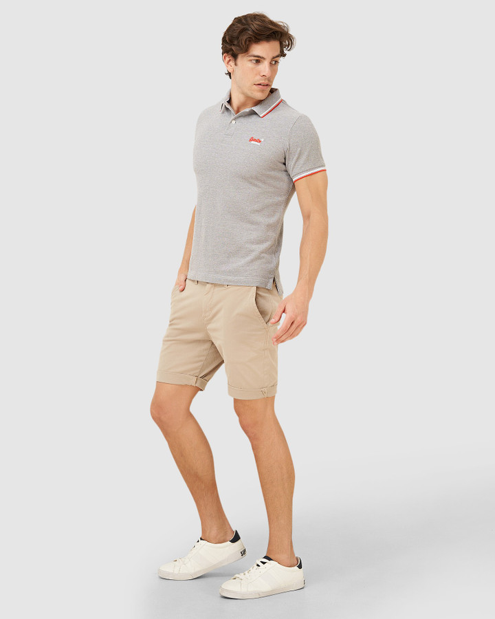 Superdry Classic Poolside Pique Polo Mid Grey Marle