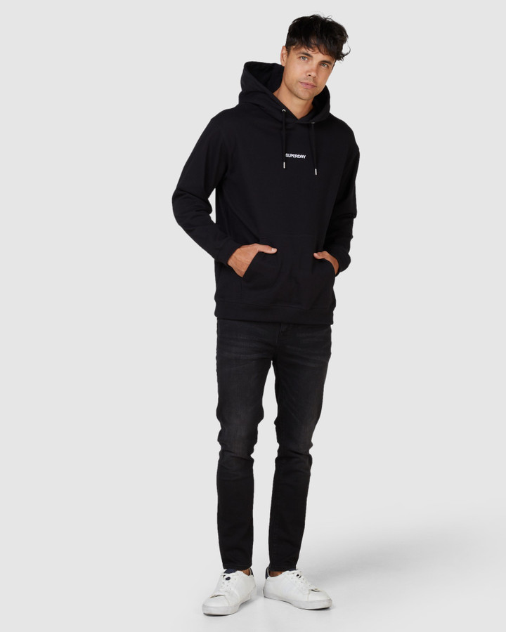 Superdry Micro Logo Box Fit Hood Black