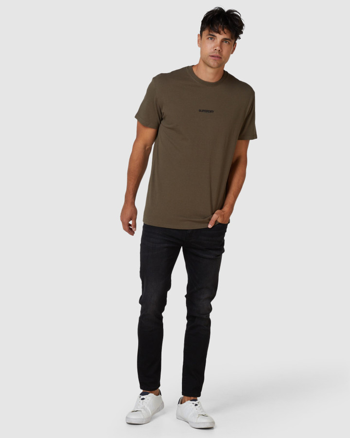 Superdry Micro Logo Box Fit Tee Deep Olive