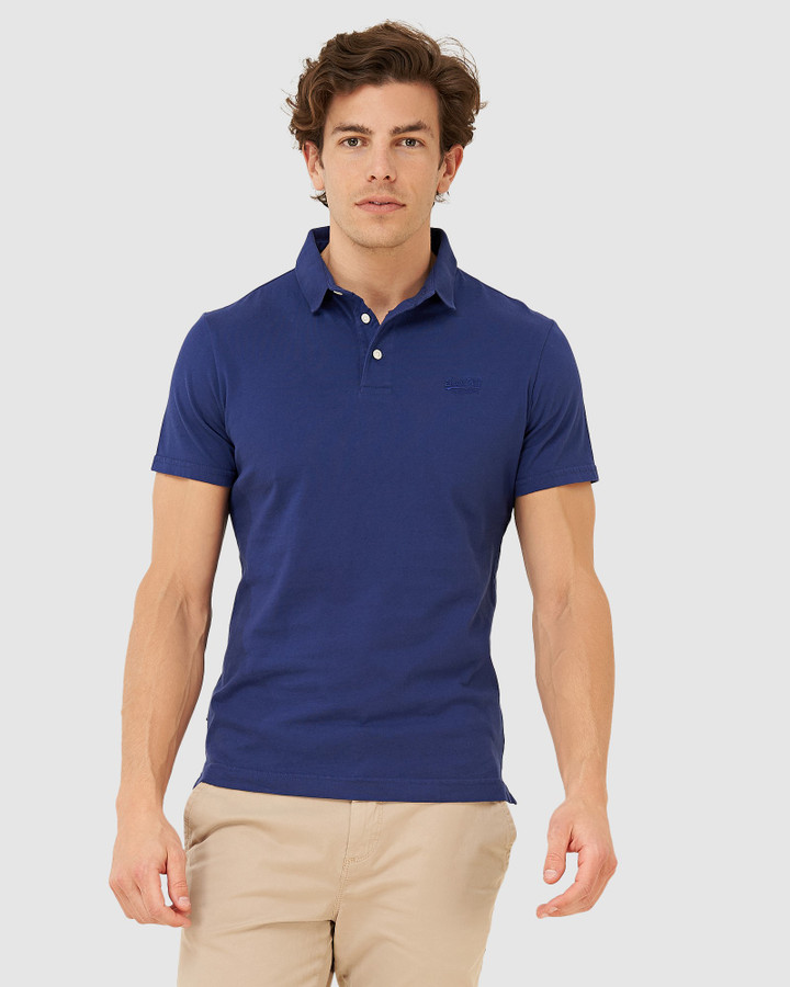 Superdry Orange Label Jersey Polo Beechwater Blue