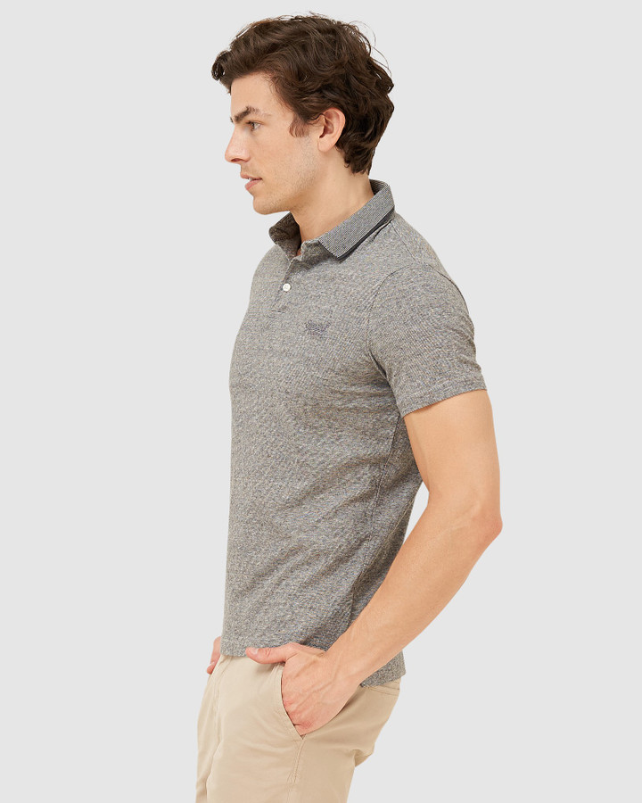 Superdry Orange Label Jersey Polo Stone Grey Feeder