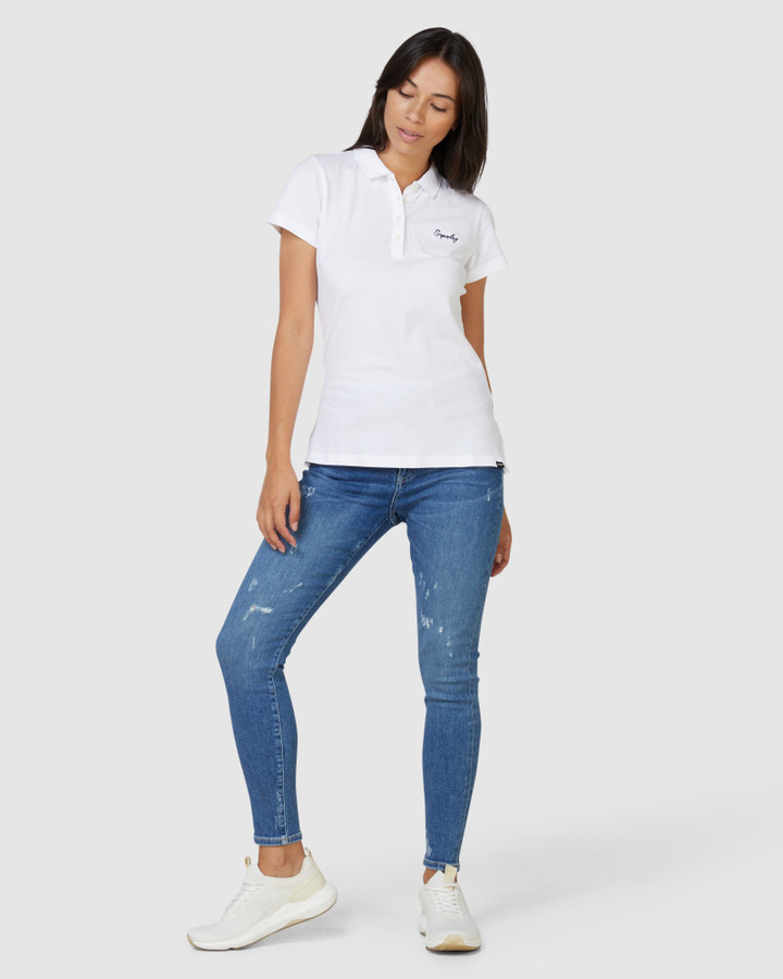 Superdry Scripted Polo Tee Brilliant White