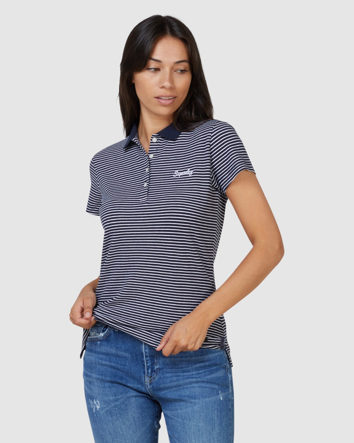 Superdry Scripted Polo Tee Navy Stripe