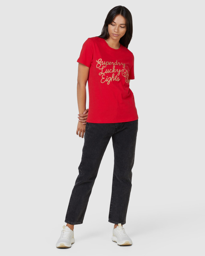 Superdry Cny Print Tee. Lucky Red