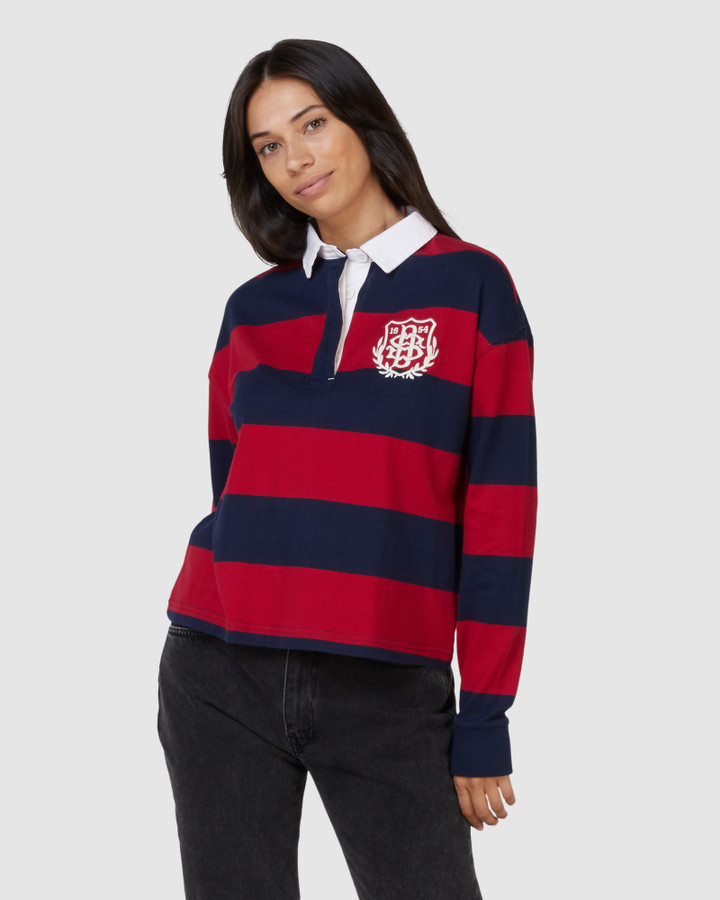 Superdry Boston Striped Rugby Top Chilli Pepper Stripe