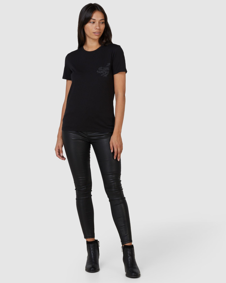 Superdry High Rise Skinny Waxed Black 30