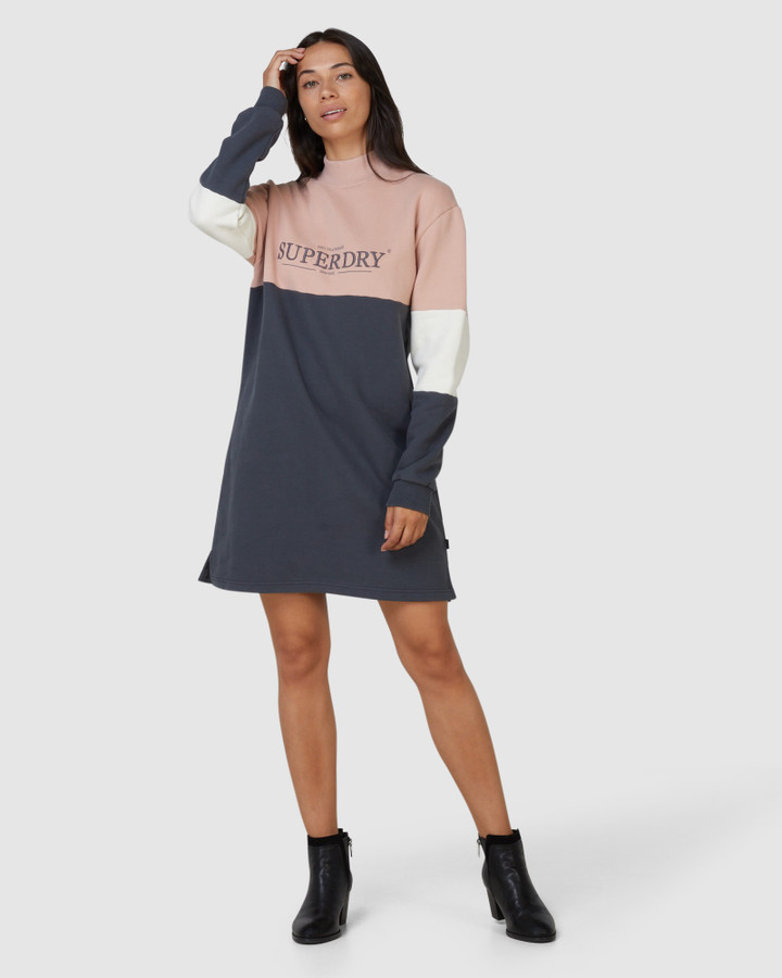 Superdry Nyc Times Colourblock Dress Iron Gate