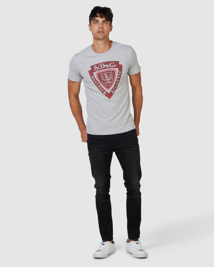 Superdry Spirit Of Japan Tee Grey Chalk Marle