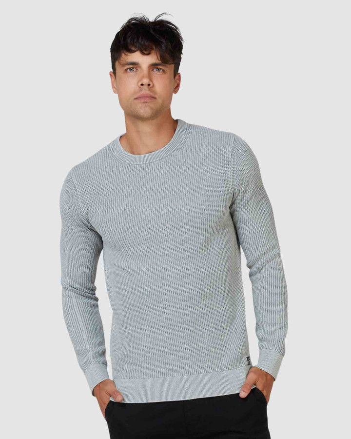 Superdry Academy Dyed Texture Crew Washed Skylark