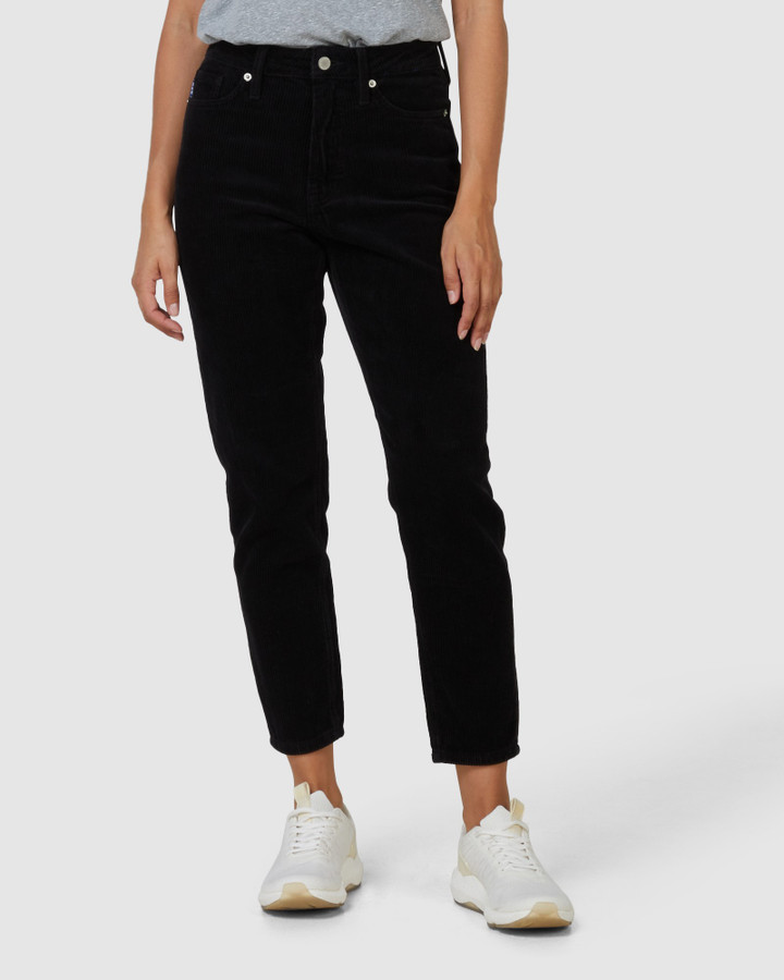 Superdry High Slim Taper Cord Black 30