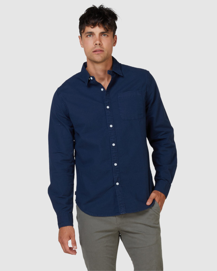 Superdry Lined Dried Oxford Shirt Indigo