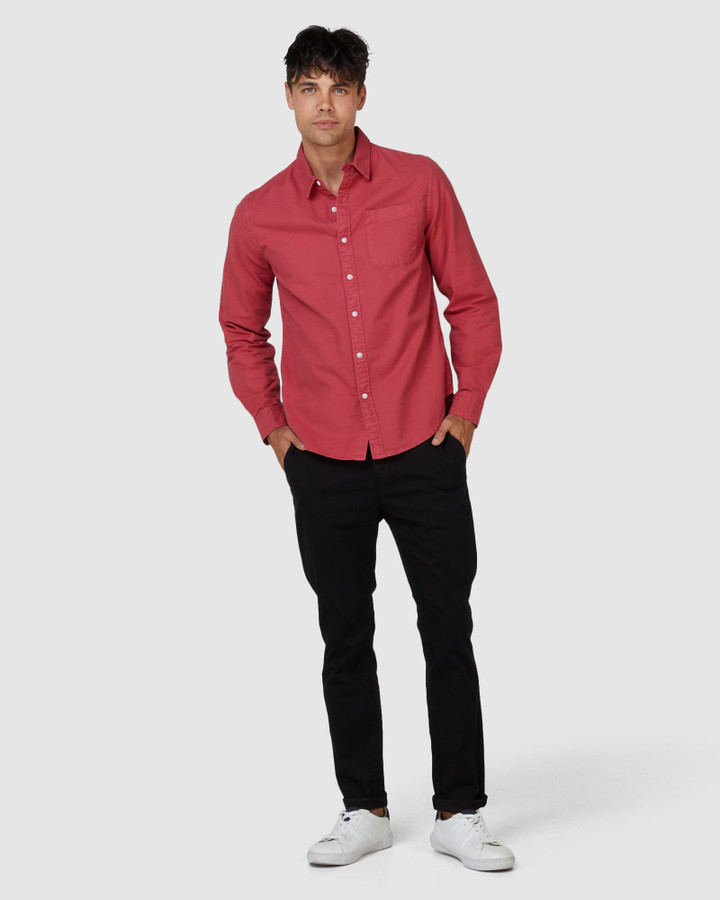 Superdry Lined Dried Oxford Shirt Preppy Red